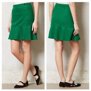Maeve Anthropologie Green Wool Skirt 14